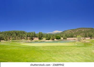 An image of a lush Arizona golf course