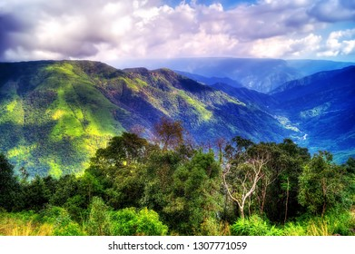 Image of the lush green valleys of Cherapunji located in the North Eastern state of Meghalaya