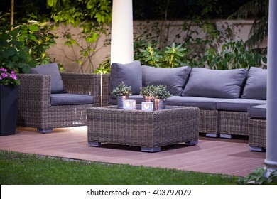 Image of luxurious simple rattan garden furnitures