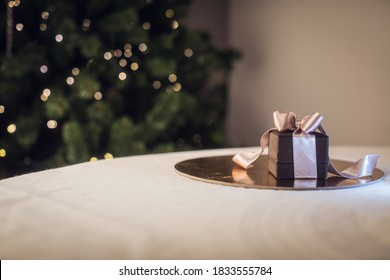 Image of luxury New Year gift. Holidays and celebration concept. Christmas background