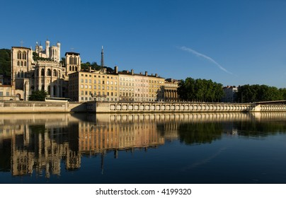Image of Lyon, France, showing Notre Dame de Fourviere basilica and the bank of the Saone river