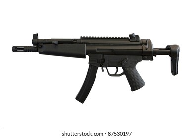 The image of machine gun under the white background