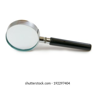 image of magnifying glass on white background closeup