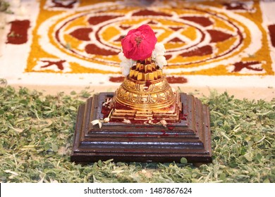 Image of the Maha Meru, the three-dimensional form of the Sri Chakra, which represents Lord Shiva and his consort, Shakti.