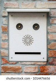 An image of a mailbox like a face