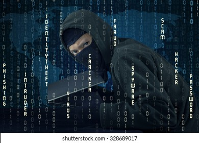 Image of male hacker wearing mask and holding laptop computer with binary code background. Identity theft concept