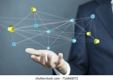 Image of male hand virtual icon of social network