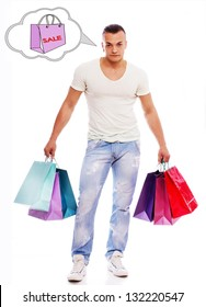 Image of man with bags who is thinking about sale