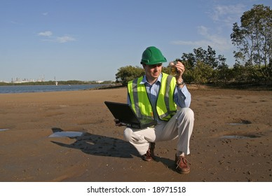 Image of a man checking the health of the environment.