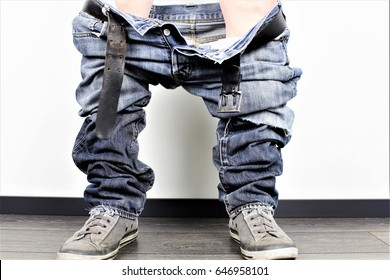 An Image of a man with down pants