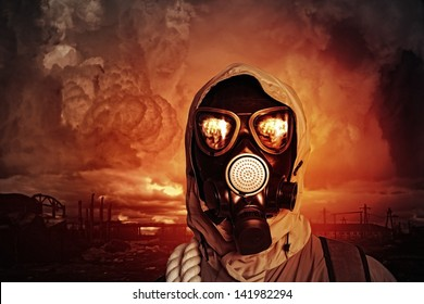 Image of man in gas mask. Ecology concept