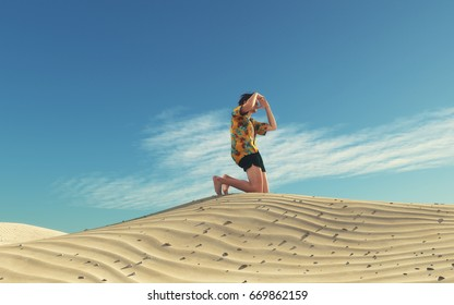 Image of a man lost in desert looking for a way. This is a 3d render illustration