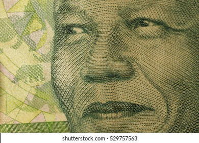 Image of Mandela Nelson on the banknote of 10 rands of the Republic of South Africa