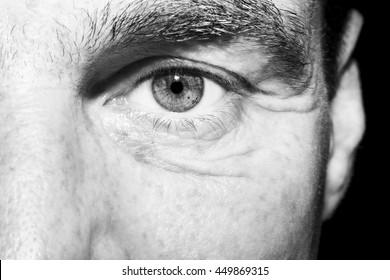 Image of man's monochrome eye close up.