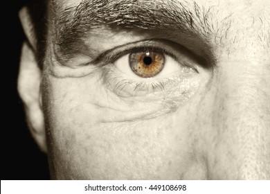 Image of man's vintage brown eye close up.