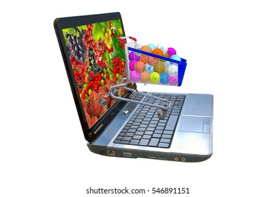 Image of many of berries on a laptop screen, stylized vitamins in the food trolley