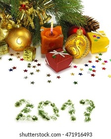 image of many Christmas decorations closeup