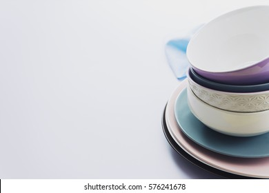 image of many empty plates on table