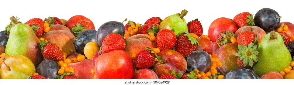image of many fruits on a white background