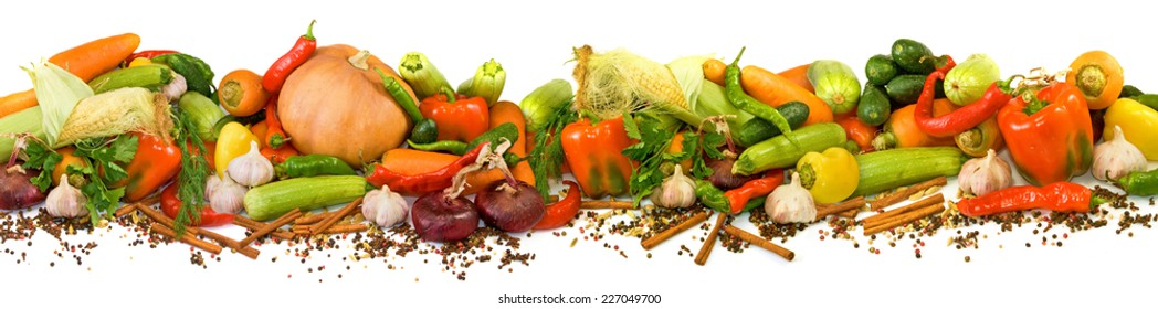 image of many raw vegetables on a white background