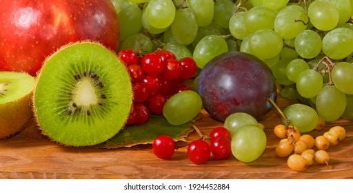 image of many various ripe fruits close-up