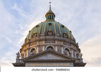 Image of the marble church (Fredrikskirken) in Copenhagen, Denmark.