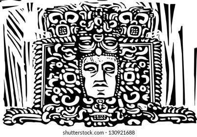 Image of a Mayan king from a ruined sculpture
