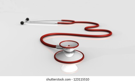 Image of a medical stethoscope on a gray background.