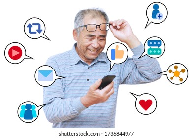 The image of men enjoying SNS on their mobile phones.