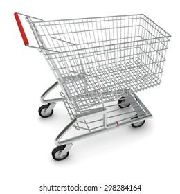 Image of metal shopping cart for purchase with red handle on isolated white background