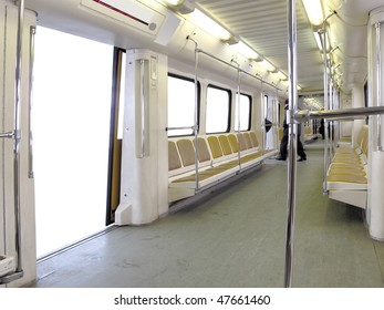The image of metro train stands on the station. There is white background instead of view from the windows