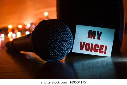 image of a mic and a note stating My Voice on an isolated background