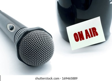 image of a mic and a note stating On Air on an isolated background