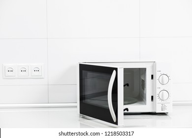 Image of the microwave oven. Modern microwave. Front view. microwave oven at home.