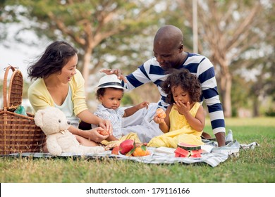Image of a mixed family having fun while picnicking in the park