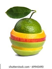 image of mixed fruits isolated on white background