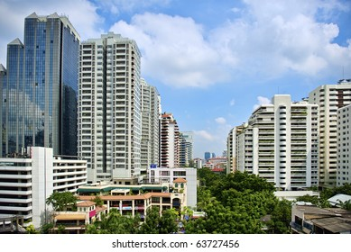 Image of modern buildings on sky background