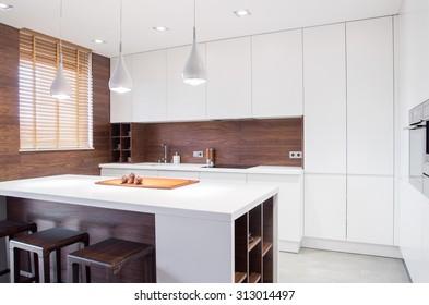 Image of modern design spacious light kitchen interior