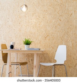 Image of modern workshop with decorative wooden wall