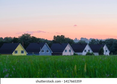 image of the Moscow region village at sunset