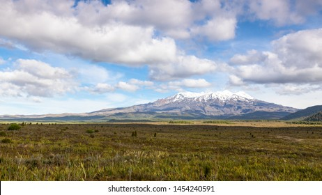 An image of a Mount Ruapehu volcano in New Zealand