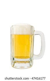 Image of a mug of beer on white background