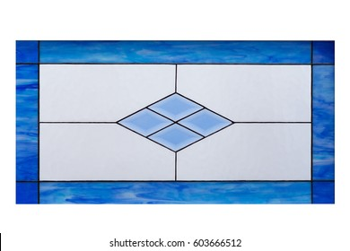 Image of a multicolored stained glass window with geometrical and symmetric pattern in a hue of blue, square format