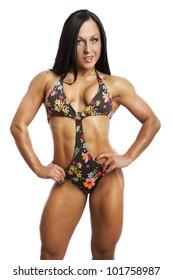 Image of muscle woman posing in studio