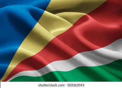 Image of national flag of Seychelles waving in the wind