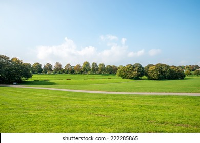 Image of a national park in Bonn, Germany with flowers, pathways, trees and lush green grass