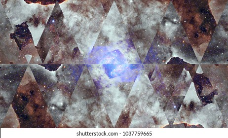 Image of the nebula, galaxy and the sacred geometry collage. Abstract cosmos.