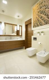 Image of new luxury bathroom with marble floor