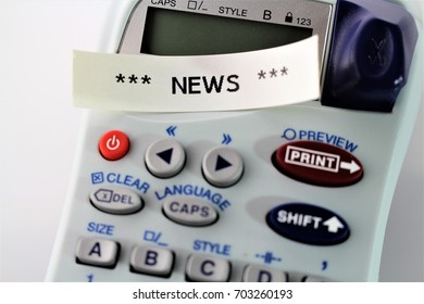"""An Image of """" news """" written on a labeling device - Close up - illustrative Editorial"""