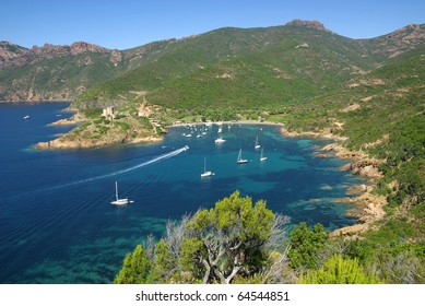 Image of the nice creek of Girolata in Corsica.